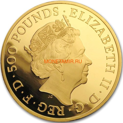 Великобритания 500 фунтов 2020 Белый Лев Мортимера серия Звери Королевы (GB 500£ 2020 Queen's Beast White Lion of Mortimer 5oz Gold Coin).Арт.90 (фото, вид 2)