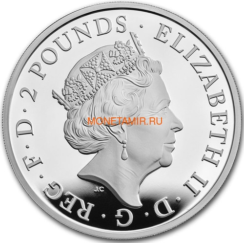 Великобритания 2 фунта 2021 Грифон Эдуарда III серия Звери Королевы (GB 2£ 2021 Queen's Beast Griffin of Edward III 1oz Silver Proof Coin).Арт.90 (фото, вид 2)