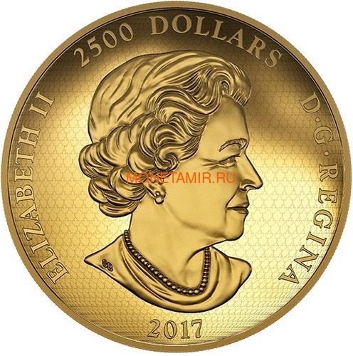 Канада 2500 долларов 2017 Лесной Волк Килограмм ( Canada 2500$ 2017 In The Eyes of a Timber Wolf Kilo Gold Coin ).Арт.92 (фото, вид 1)