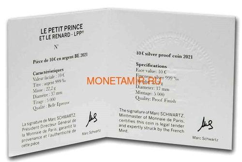 Франция 10 евро 2021 Маленький Принц Книга Луна Лиса Набор Три Монеты ( France 10 euro 2021 The Little Prince Masterpiece Moon Fox Silver Set 3 Coins ).Арт.90 (фото, вид 10)