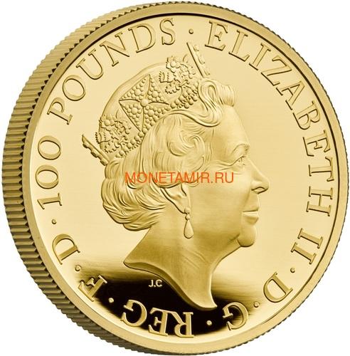 Великобритания 100 фунтов 2021 Звери Королевы (GB 100£ 2021 Queen's Beast 1oz Gold Proof Coin).Арт.92 (фото, вид 2)