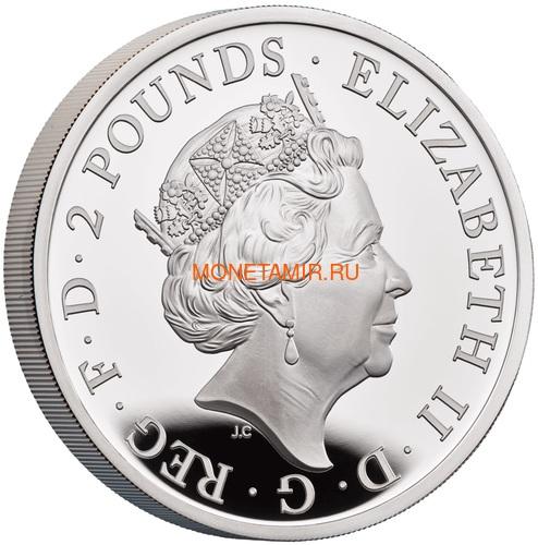 Великобритания 2 фунта 2021 Звери Королевы (GB 2£ 2021 Queen's Beast 1oz Silver Proof Coin).Арт.92 (фото, вид 1)