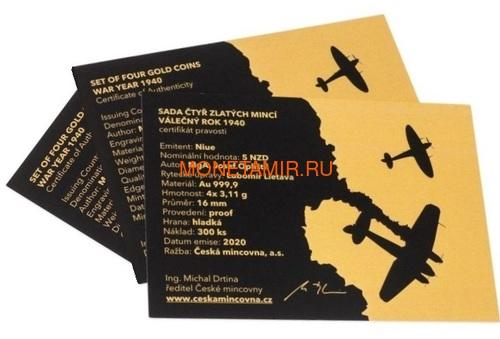 Ниуэ 4х5 долларов 2020 Великая Отечественная Война 1940 год Набор Золотых Монет Нарвик Франция Операция Динамо Британия Корабль Самолет Танк (Niue 4х5$ 2020 Set Gold Coins War 1940 Narvik France Operation Dynamo Britain).Арт.K1,46G/92 (фото, вид 7)