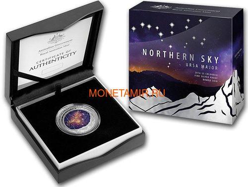 Австралия 5 долларов 2016 Созвездие Большая Медведица Северное Полушарие Выпуклая (Australia 5$ 2016 Northern Sky Ursa Major Domed 1oz Silver Coin).Арт.60 (фото, вид 3)