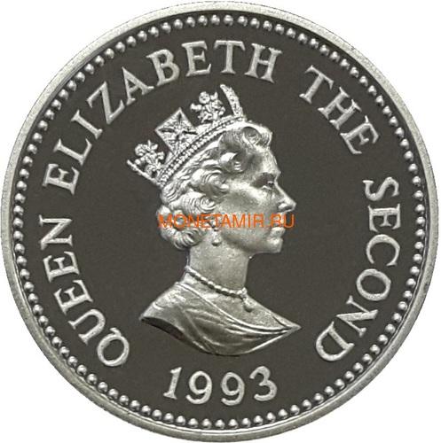 Олдерни 1 фунт 1993 Коронация Карета (Alderney 1 pound 1993 Coronation Silver Coin).Арт.60 (фото, вид 1)