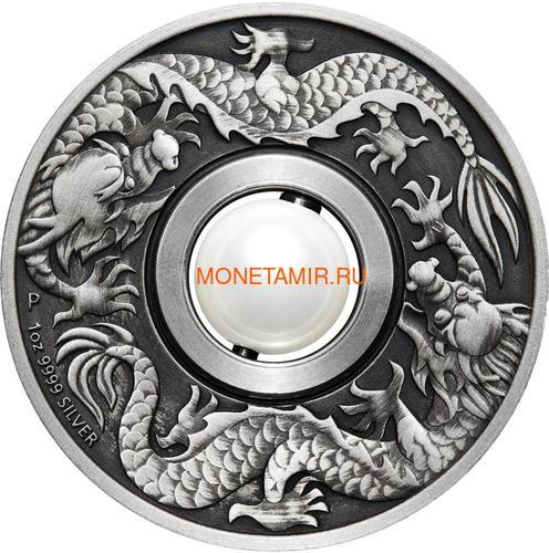 Тувалу 1 доллар 2017 Дракон и Жемчуг (Tuvalu 1$ 2017 Dragon & Pearl 1oz Siler Coin).Арт.92 (фото, вид 1)