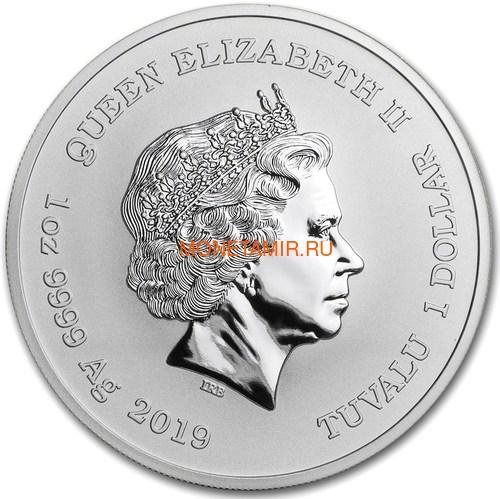 Тувалу 1 доллар 2019 Дракон Китайский Новый Год (Tuvalu 1$ 2019 Chinese New Year Dragon 1oz Siler Coin).Арт.92 (фото, вид 2)