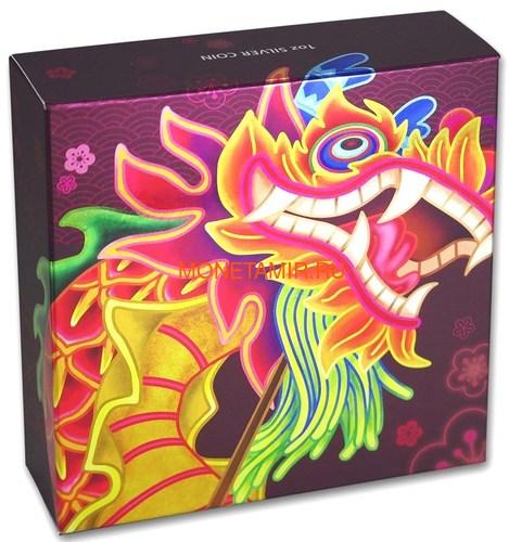 Тувалу 1 доллар 2019 Дракон Китайский Новый Год (Tuvalu 1$ 2019 Chinese New Year Dragon 1oz Siler Coin).Арт.92 (фото, вид 5)