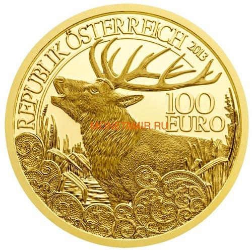 Австрия 100 евро 2013-2018 Дикая Природа Красный Олень Кабан Глухарь Лиса Горный Козел Утка Набор 6 монет (Austria 100E Wildlife in our Sights Gold Coin Set).Арт.92 (фото, вид 3)