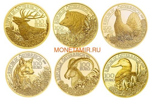 Австрия 100 евро 2013-2018 Дикая Природа Красный Олень Кабан Глухарь Лиса Горный Козел Утка Набор 6 монет (Austria 100E Wildlife in our Sights Gold Coin Set).Арт.92 (фото, вид 2)
