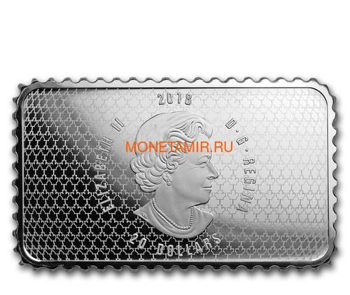 Канада 20 долларов 2018 Здание Парламента 1927 серия Исторические Марки Канады (2018 Canada $20 Parliament Building 1927 Canada's Historical Stamps 1oz Silver Coin).Арт.92 (фото, вид 2)