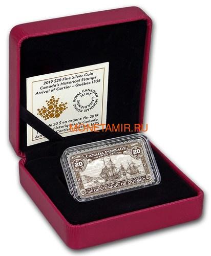 Канада 20 долларов 2019 Прибытие Картье Квебек 1535 серия Исторические Марки Канады (2019 Canada $20 Arrival of Cartier Quebec 1535 Canada's Historical Stamps 1oz Silver Coin).Арт.92 (фото, вид 3)
