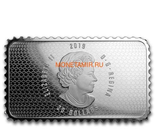Канада 20 долларов 2019 Прибытие Картье Квебек 1535 серия Исторические Марки Канады (2019 Canada $20 Arrival of Cartier Quebec 1535 Canada's Historical Stamps 1oz Silver Coin).Арт.92 (фото, вид 2)