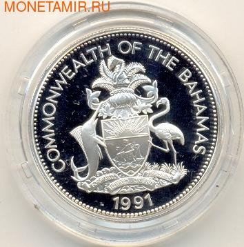 Багамы 5 долларов 1991. Христофор Колумб. (фото, вид 1)