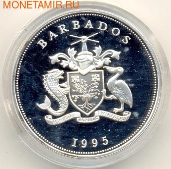 Барбадос 5 долларов 1995. Первое европейское поселение Барбадоса - 1625 (фото, вид 1)