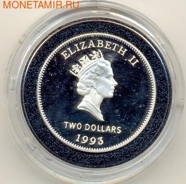 Бермуды 2 доллара 1993. Корабль (фото, вид 1)