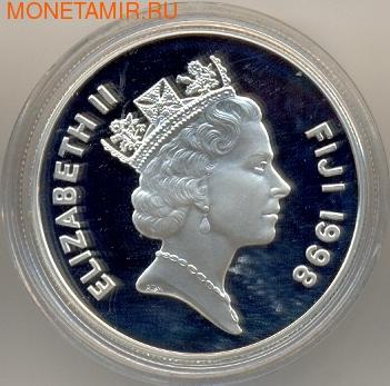 Фиджи 10 долларов 1998. Корабль. Запуск Королевы Елизаветы (фото, вид 1)
