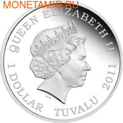 Тувалу 1 доллар 2011.Орангутанг серия Дикая природа в опасности.Арт.60 (фото, вид 1)