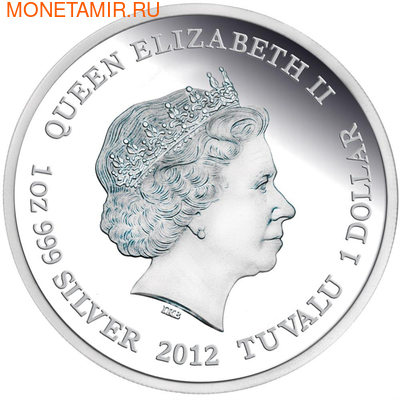 Тувалу 1 доллар 2012 Тасманийский клинохвостый орел - Исчезающие виды.Арт.60 (фото, вид 1)