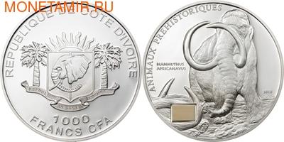 Берег Слоновой Кости 1000 франков 2010.Африканский мамонт (с костью мамонта).Арт.60 (фото, вид 1)