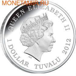 Тувалу 1 доллар 2012 Паук Ядовитый Воронковый серия Смертельно Опасные (Tuvalu 1$ 2012 Deadly and Dangerous Funnel Web Spider 1oz Silver Coin).Арт.000342240960/92 (фото, вид 1)