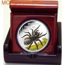 Тувалу 1 доллар 2012 Паук Ядовитый Воронковый серия Смертельно Опасные (Tuvalu 1$ 2012 Deadly Dangerous Funnel Web Spider).Арт.000342240960/60 (фото, вид 2)