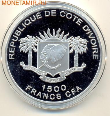 Берег Слоновой Кости 7х1500 франков 2010.7 чудес света (позолота).Набор. (фото, вид 1)