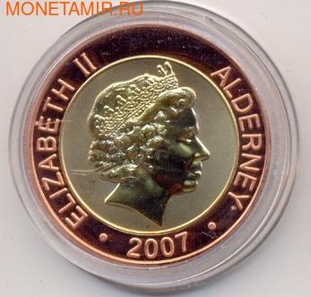 Олдерни 1 фунт 2007 Крис Пэттен Губернаторы Гонконга Биметалл (Alderney 1 pound 2007 Cristopher Patten Governors of Hong Kong BM).Арт.000029316610/55D (фото, вид 1)