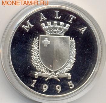 Мальта 5 мальтийских лир 1995. 50-летие ООН (фото, вид 1)
