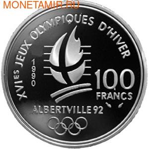 Франция 100 франков 1990. XVI Зимние Олимпийские игры 1992 года в Альбервиле. Фрисайл. Франция 100 франков 1990. (фото, вид 1)