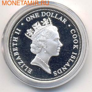 Острова Кука 1 доллар 2004. Первый паровоз Австралии. (фото, вид 1)
