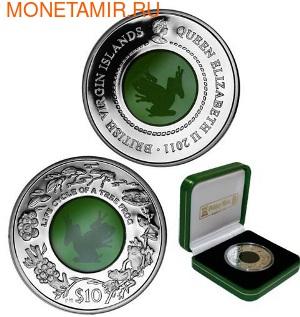 Британские Виргинские Острова 10 долларов 2011.Лягушка (кристалл).Арт.000204642794/60 (фото, вид 2)