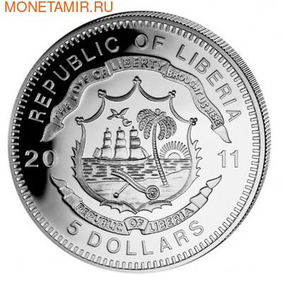 Либерия 5 долларов 2011. История железных дорог. Голубой Экспресс. (фото, вид 1)
