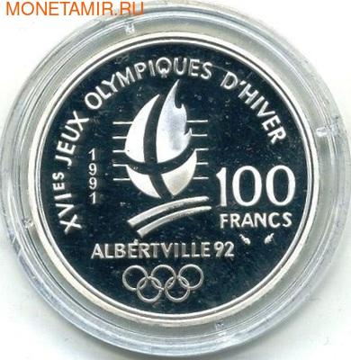 Франция 100 франков 1991. Олимпиада 1992 - хоккей (фото, вид 1)