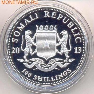Слоны. Сомали 100 шиллингов 2013. (позолота) (фото, вид 1)