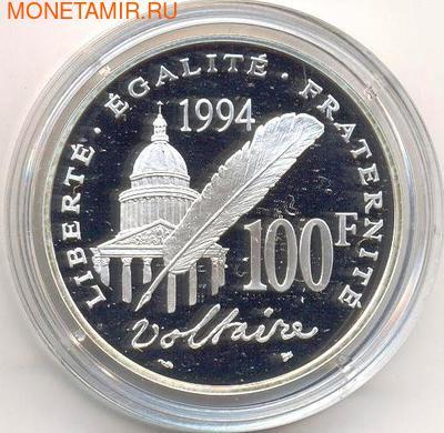 Франция 100 франков 1994. Вольтер. (фото, вид 1)