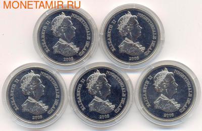 """Набор монет: """"К 80-му дню рождения Елизаветы II"""". Остров Найтингейл 5х1 крона 2005. (фото, вид 1)"""