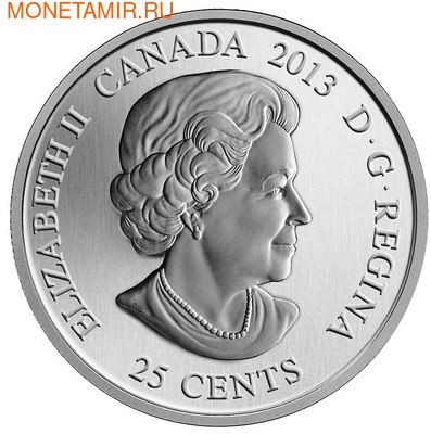 Канада 25 центов 2013. Кактус. Восточная опунция (фото, вид 2)