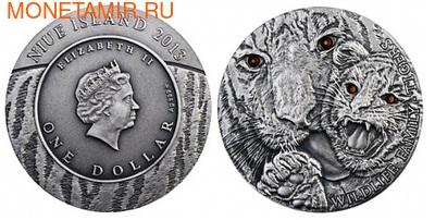 Ниуэ 1 доллар 2013. Тигры. Ультравысокий рельеф. (фото, вид 1)