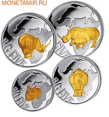 """Конго 400 франков 2013. Набор монет """"Большая пятерка"""". Носорог (фото, вид 1)"""