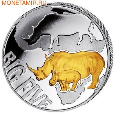 """Конго 400 франков 2013. Набор монет """"Большая пятерка"""". Носорог (фото, вид 2)"""
