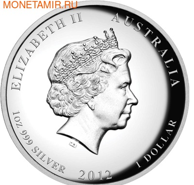 Австралия 1 доллар 2012. Год Дракона. (фото, вид 2)