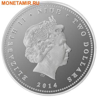 Ниуэ 2 доллара 2014.Белые Лошади - Год Лошади.Арт.000306946351/60 (фото, вид 1)