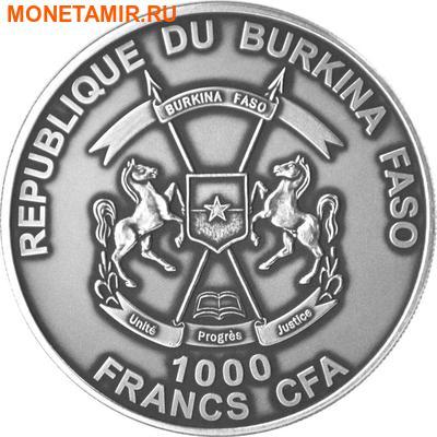 Буркина Фасо 1000 франков 2014 Лев Большая Африканская Пятерка (Burkina Faso 1000FCFA 2014 Big 5 Lion 1 oz Silver Coin).Арт.000626249801 (фото, вид 1)