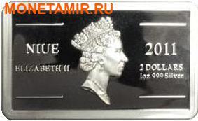 Ниуэ 2 доллара 2011.Юрий Гагарин – Покорение Космоса.Арт.000281346431/60 (фото, вид 1)