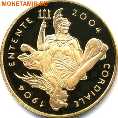 Великобритания 5 фунтов Франция 20 евро 2004 набор из двух монет. «100-летие образования Антанты между Англией и Францией». (фото, вид 1)