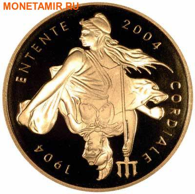 Великобритания 5 фунтов Франция 20 евро 2004 набор из двух монет. «100-летие образования Антанты между Англией и Францией». (фото, вид 3)