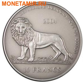Набор из двух монет Конго Дем. Респ. 10 франков 2004. Либерия 10 долларов 2004. Время деньги – компас и солнечные часы.Арт.000231610274 (фото, вид 1)