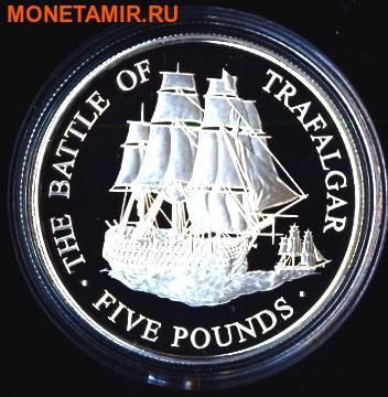 Олдерни,Гернси,Джерси 3х5 фунтов 2005.Трафальгарское сражение - Адмирал Нельсон.Корабль Виктория (набор из трех монет).Арт.000505641422/60 (фото, вид 3)
