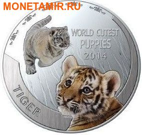 Ниуэ 1 доллар 2014. Набор 5 монет. Мир симпатичных щенков – Шиба-Ину, Тигр, Померанский шпиц, Красная панда, Коала. Арт.000247747799 (фото, вид 2)